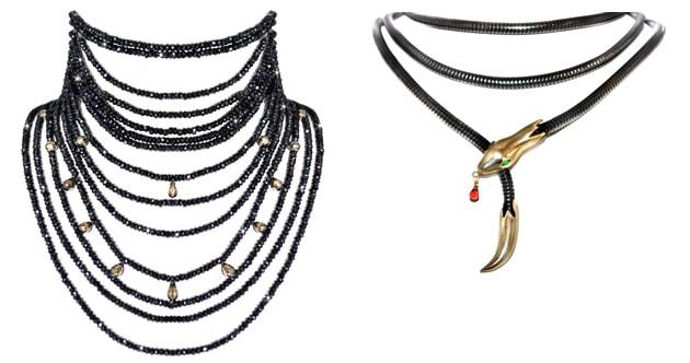 Padma Lakshmi Black Spinel Choker and Snake Lariat