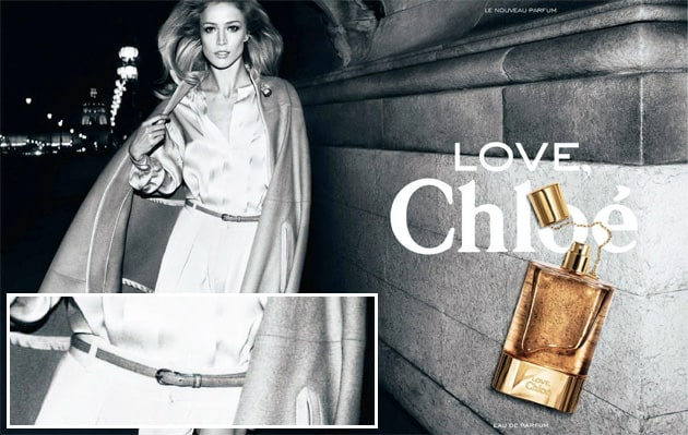 Love Chloe Fragrance Ad With YSL Yves Saint Laurent Belt