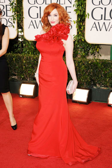 2011 Golden Globe Awards Christina Hendricks wears Romona Keveza dress