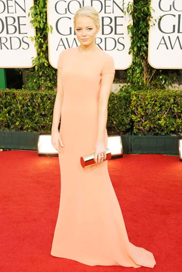 2011 Golden Globe Awards Emma Stone wears Calvin Klein dress