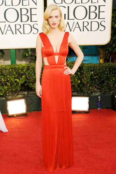 2011 Golden Globe Awards January Jones wears Versace dress
