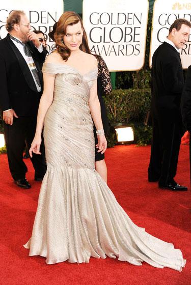 2011 Golden Globe Awards Milla Jovovich wears Armani Prive dress