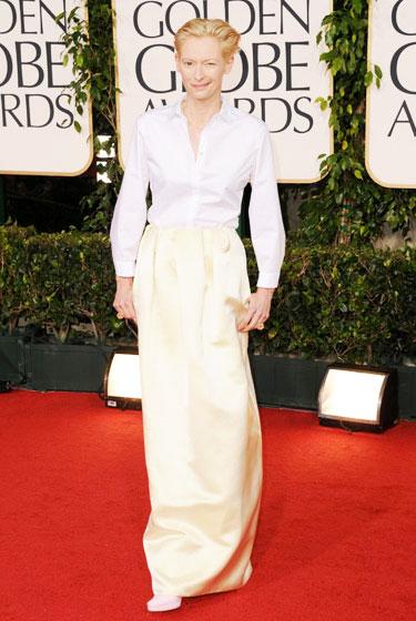 2011 Golden Globe Awards Tilda Swinton wears Jil Sander dress