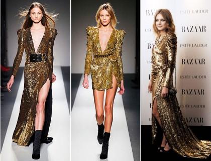Balmain Fall 2010 Gold Dress Natalia Vodianova