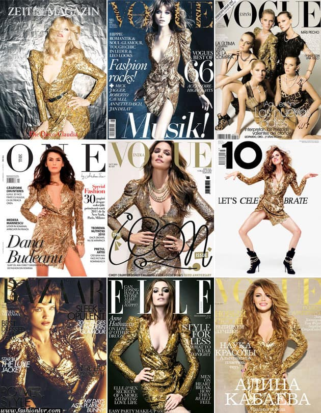 Balmain Fall 2010 Gold Dress 9 Mag Covers