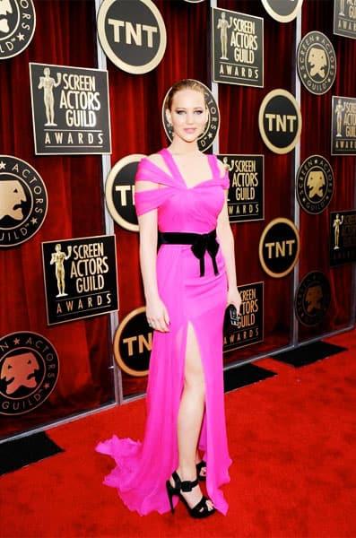Jennifer Lawrence Oscar de la Renta Dress 2011 SAG Awards