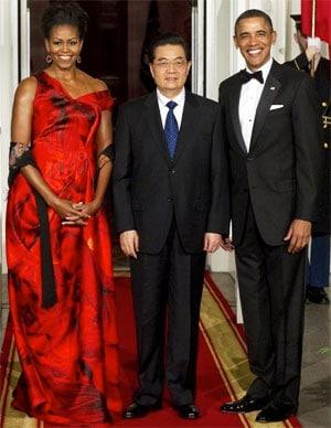 Michelle Obama Alexader McQueen Dress China State Dinner
