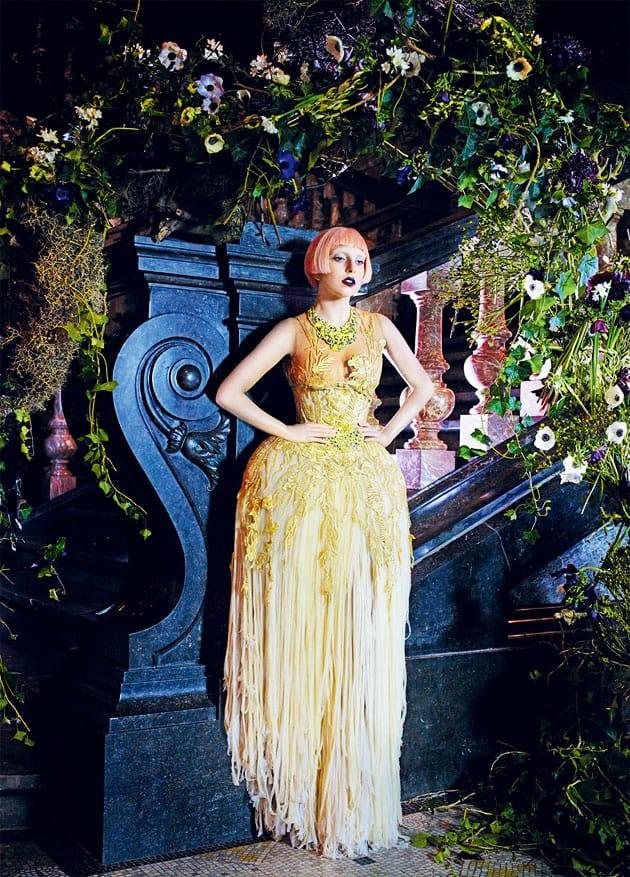 Lady Gaga Vogue March 2011 Editorial Alexander McQueen Gold Dress