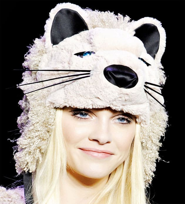 Anna Sui Fall 2011 White Cat Hat