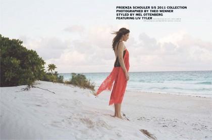 Liv Tyler Wears Pink Proenza Schouler In Purple Fashion Spring 2011 Issue
