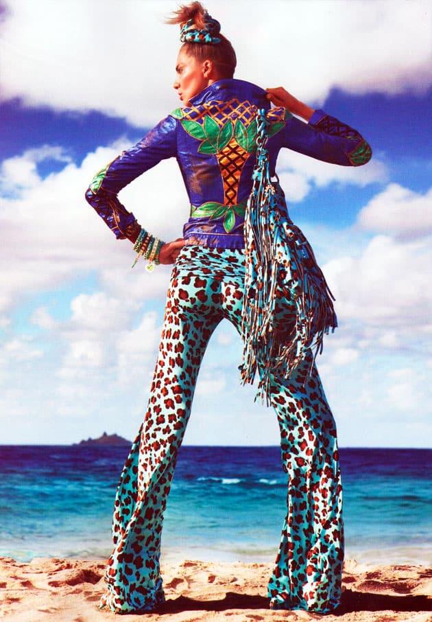 Daria Werbowy Vogue Paris March 2011 Pop Egerie Leopard Print Blumarine Pants