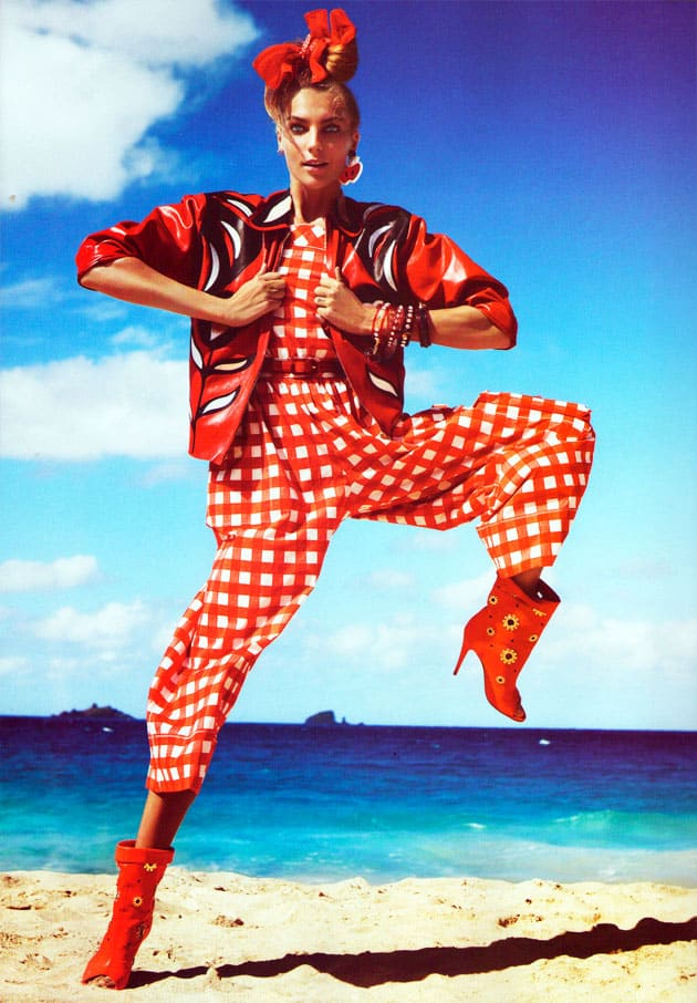 Daria Werbowy Vogue Paris March 2011 Pop Egerie Red Picnic Cloth Miu Miu Jumpsuit And Jacket