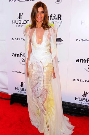 Carine Roitfeld At AmfAR 2011 Gala Wearing Givenchy Fall 2011 Haute Couture