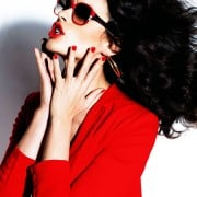 Crystal Renn In Vogue Mexico April 2011 Wearing Red Jacket