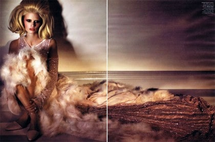 Lara Stone In W April 2011 Couture Editorial Wearing Chanel Haute Couture