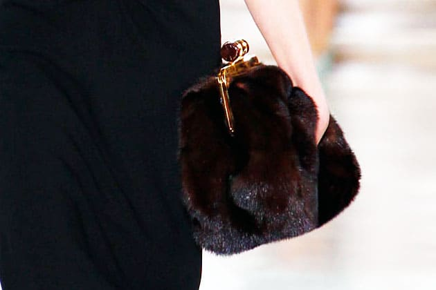 Miu Miu Fall 2011 Brown Fur Oversize Frame Clutch