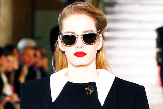 Miu Miu Fall 2011 Silver Glitter Cateye Sunglasses