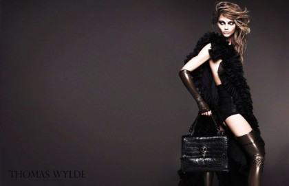 Sasha Pivovarova In Thomas Wylde Spring 2011 Campaign - Black Ruffles