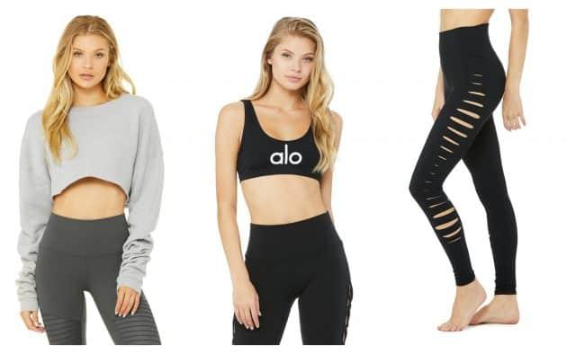 Alo Yoga: Pullover $68, Bra $56, Pants $98 (Pics: Official Website)